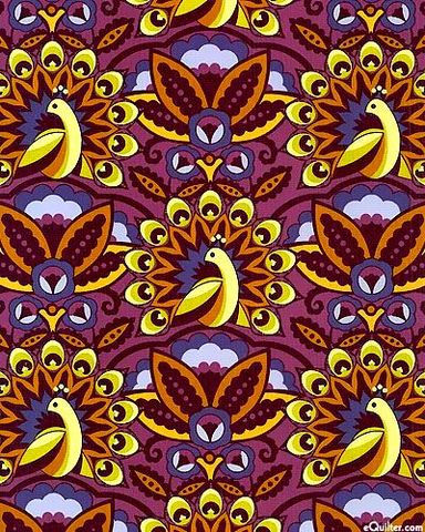 Cotton,Quilt,Fabric,Feathers,And,Fancy,Peacock,Parade,Mulberry,Deco,Style,quilt fabric,cotton material,auntie chris quilt,sewing,crafts,quilting,online fabric,sale fabric
