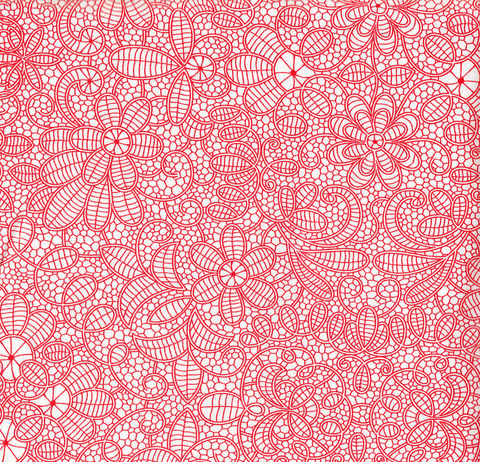 Cotton,Quilt,Fabric,Faux,Battenburg,Lace,Cherry,Red,White,quilt fabric,cotton material,auntie chris quilt,sewing,crafts,quilting,online fabric,sale fabric