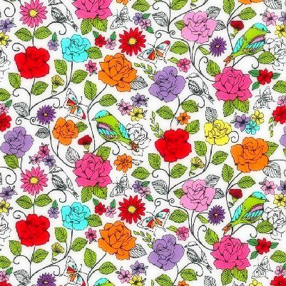 Cotton,Quilt,Fabric,Spring,Fling,Michael,Miller,Bird,Floral,White,auntie chris quilt fabric,cotton material,auntie chris quilt,sewing,crafts,quilting,online fabric,sale fabric