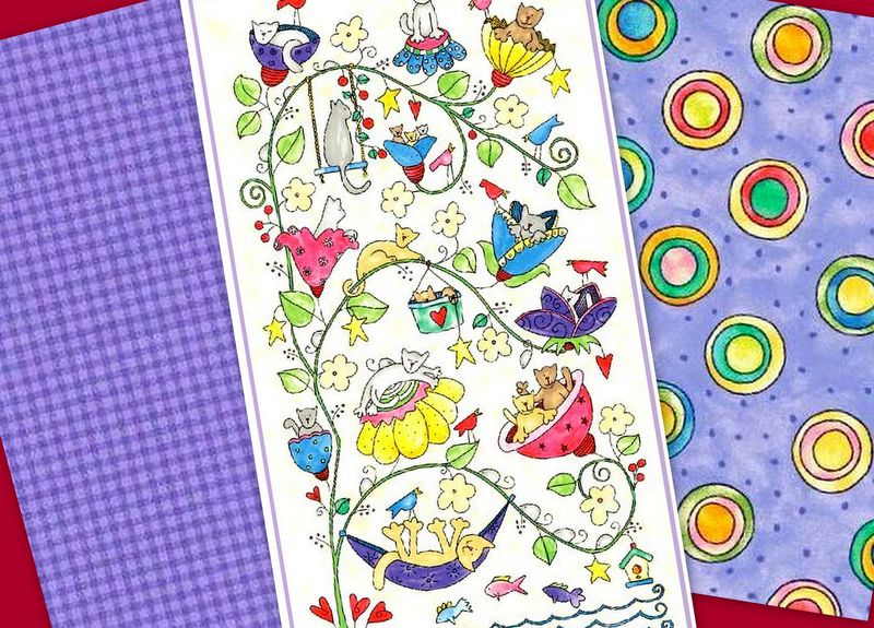 Easy Fabric Panel Quilt Kit Happy Catz Whimsical Cats Flowers Quick Beginners - product images  of