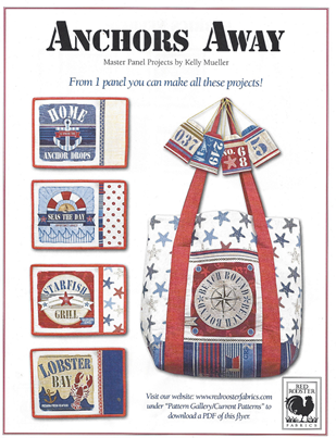 Quilt Fabric Panel Anchors Away Nautical Fabric Make Bag Place Mats More - product images  of