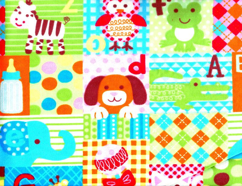Cotton Quilt Fabric Flannel Baby Animal Alphabet Blocks