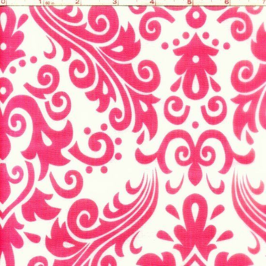 Cotton Quilt Fabric Large Damask Pink White Riley Blake  - product image