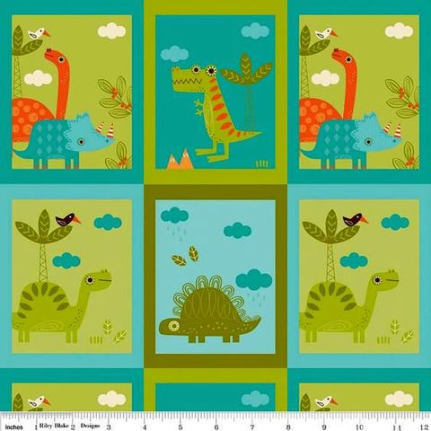 Cotton,Quilt,Fabric,Dinosaurs,Blocks,Riley,Blake,T,Rex,Stego,Bronto,Green,quilt fabric,cotton material,auntie chris quilt,sewing,crafts,quilting,online fabric,sale fabric