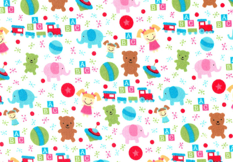Cotton Quilt Fabric Flannel Christmas Santas Workshop