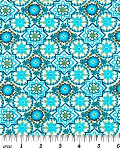 Cotton,Quilt,Fabric,Bohemian,Rhapsody,Small,Medallion,Floral,Blue,Green,,quilt backing, dresses, quilt fabric,cotton material,auntie chris quilt,sewing,crafts,quilting,online fabric,sale fabric