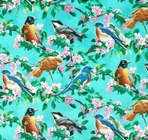 Cotton,Quilt,Fabric,Wild,Wings,Cherry,Blossoms,Pink,Birds,Teal,Blue,,quilt backing, dresses, quilt fabric,cotton material,auntie chris quilt,sewing,crafts,quilting,online fabric,sale fabric