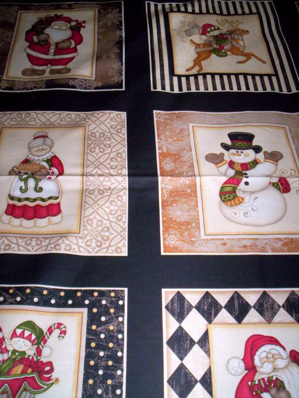 Cotton Quilt Fabric Holly Jolly Santa Snowman 24 Inch