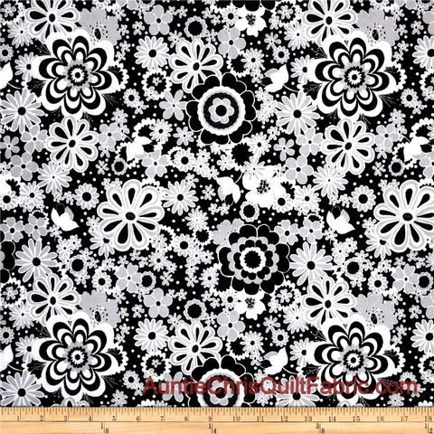 Cotton,Flannel,Quilt,Fabric,Parisian,Black,White,Gray,Floral,Main,,quilt backing, dresses, quilt fabric,cotton material,auntie chris quilt,sewing,crafts,quilting,online fabric,sale fabric