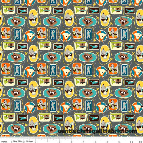 Cotton,Quilt,Fabric,Little,Flyers,Patches,Gray,C4572,Fox,Squirrle,Planes,,quilt backing, dresses, quilt fabric,cotton material,auntie chris quilt,sewing,crafts,quilting,online fabric,sale fabric
