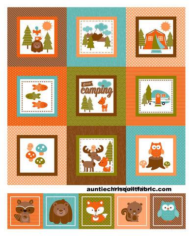 Cotton,Quilt,Fabric,Panel,Happy,Camper,Vintage,Tent,Animals,Brown,,quilt backing, dresses, quilt fabric,cotton material,auntie chris quilt,sewing,crafts,quilting,online fabric,sale fabric