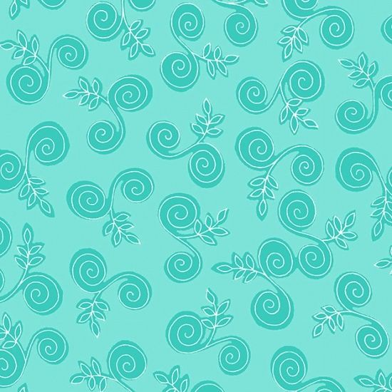 Cotton Quilt Fabric Fab Friend'zy Swirly Branch Aqua Blue Henry Glass - product image