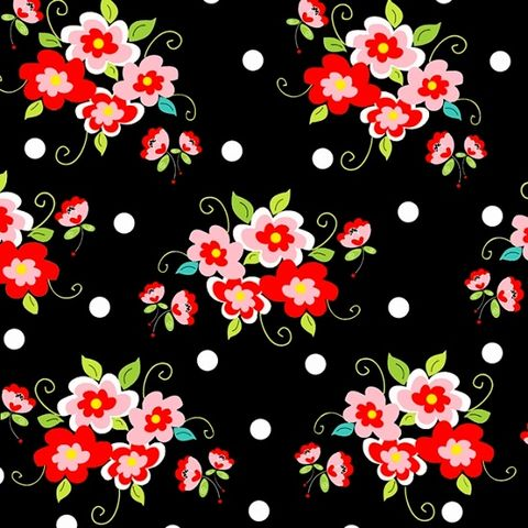 Cotton,Quilt,Fabric,Fab,Friend'zy,Rose,Floral,Black,Multi,Henry,Glass,,quilt backing, dresses, quilt fabric,cotton material,auntie chris quilt,sewing,crafts,quilting,online fabric,sale fabric