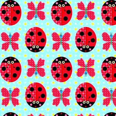 Cotton Quilt Fabric Sunshine Day Lady Bugs Butterflies Blue Multi - product image