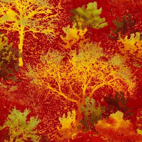Cotton Quilt Fabric Autumn In The Forest Trees Leaves Gold