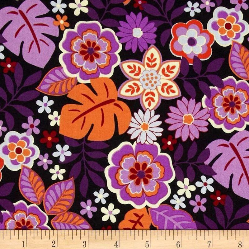 Cotton Quilt Fabric Cassandra Master Floral Orchid Flower