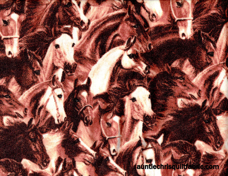 Cotton Flannel Quilt Fabric Running Horses Brown Western - product images  of