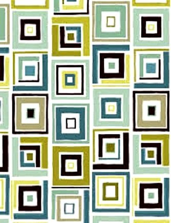 Modern Block Print Benartex Dwellings Box Trot White/Aqua 1 Panel  - product images  of