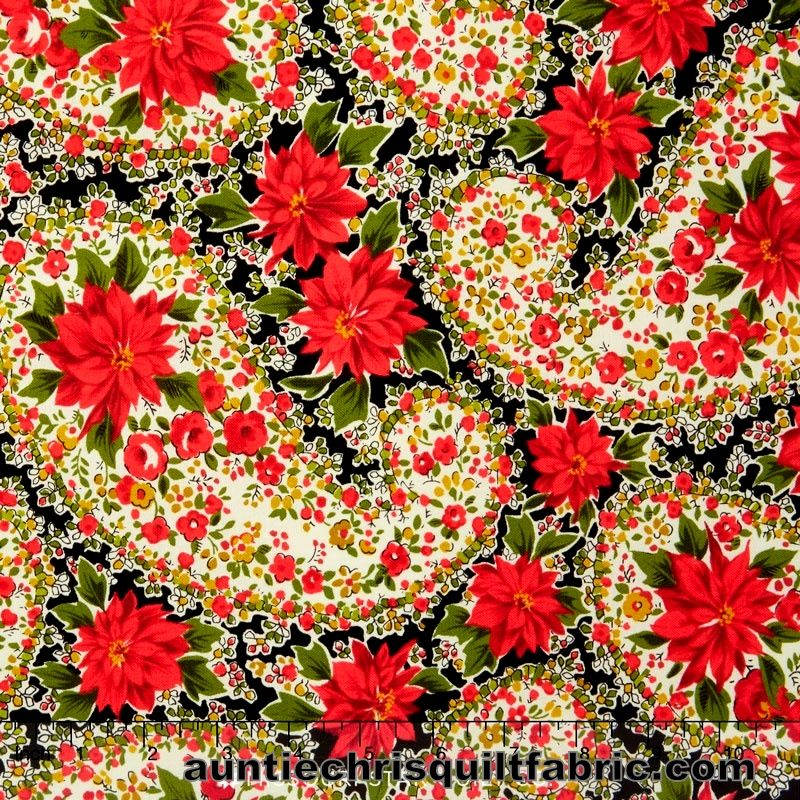 Cotton Quilt Fabric Christmas Poinsettia Large Paisley Black Andover Fabrics  - product images  of