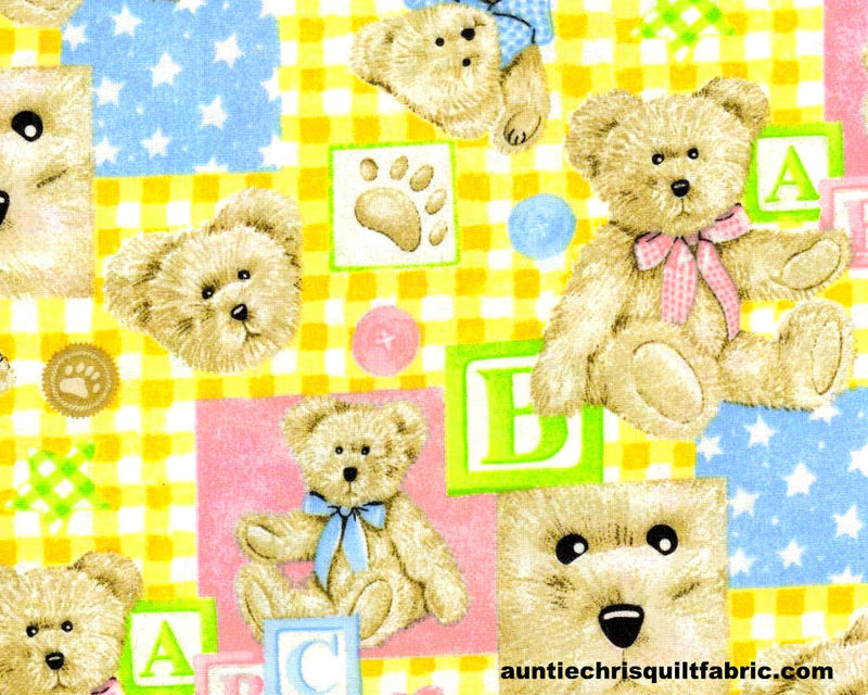 Cotton quilt fabric boyds bears nursery baby pastels for Nursery fabric sale
