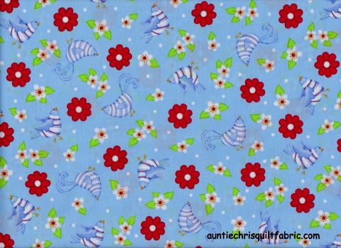 Cotton,Quilt,Fabric,Bird,And,Flower,Toss,Lt,Blue,Whimsical,Floral,,quilt backing, dresses, quilt fabric,cotton material,auntie chris quilt,sewing,crafts,quilting,online fabric,sale fabric