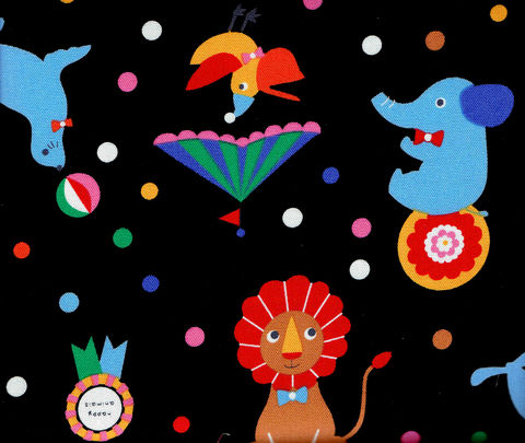 Cotton,Quilt,Fabric,Zoo,Animals,Black,Brights,Yuru,Japan,,quilt backing, dresses, quilt fabric,cotton material,auntie chris quilt,sewing,crafts,quilting,online fabric,sale fabric