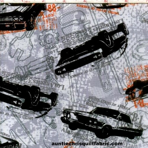 Cotton Quilt Fabric Times Of Your Life DMV Cars Mechanics Gear Heads - product images  of