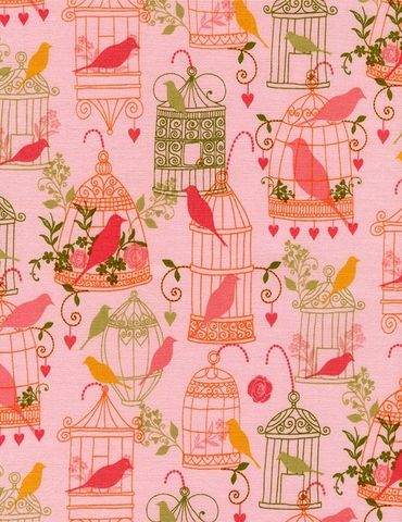 Cotton,Quilt,Fabric,Birdsong,Floral,Birdcages,Whimsical,Pink,Multi,,quilt backing, dresses, quilt fabric,cotton material,auntie chris quilt,sewing,crafts,quilting,online fabric,sale fabric