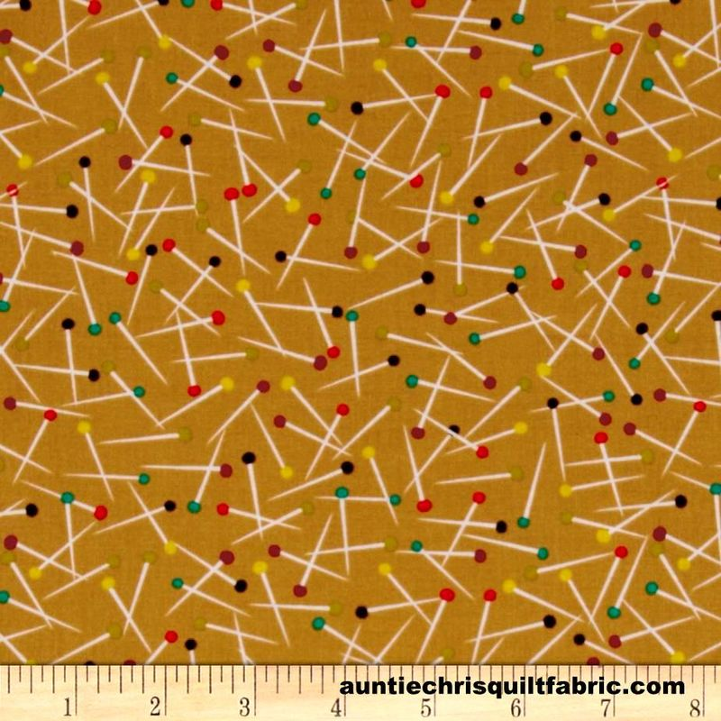 Cotton Quilt Fabric Michael Miller Love to Sew Pin Scatter Toffee Multi - product images  of