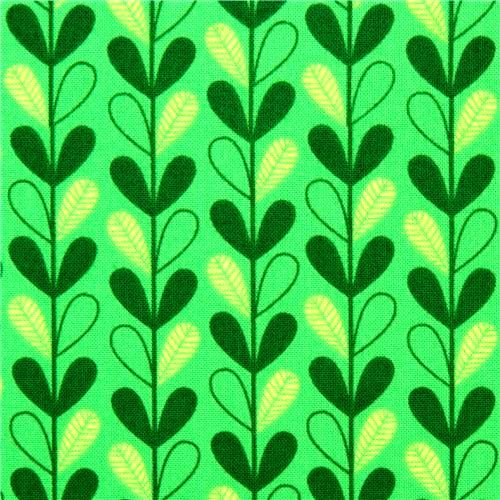 Cotton Quilt Fabric Michael Miller Green Leafy Vines cx5968 - product images  of