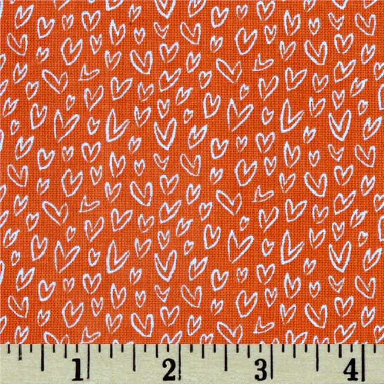 Cotton Quilt Fabric Woodwinked Dear Stella Little Hearts Orange 331 - product images  of