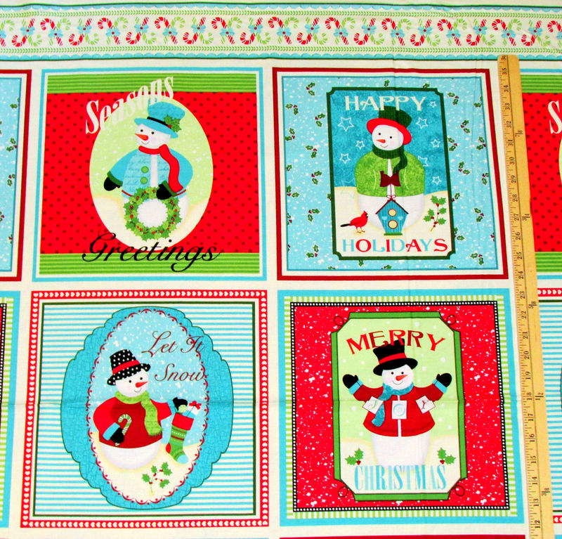 Cotton Quilt Fabric Happy Holidays Snowmen Christmas Panel