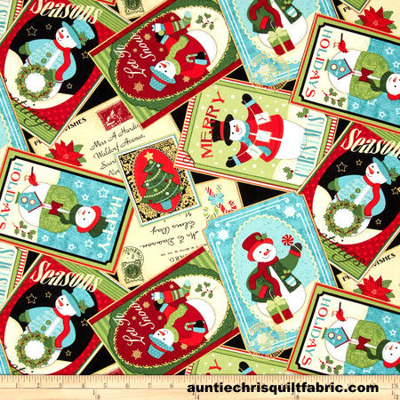 Cotton Quilt Fabric Christmas Happy Holidays Snowmen Collage 4575m - product images  of