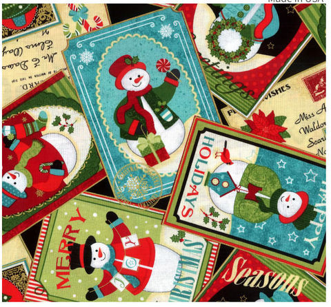 Cotton,Quilt,Fabric,Christmas,Happy,Holidays,Snowmen,Collage,4575m,,quilt backing, dresses, quilt fabric,cotton material,auntie chris quilt,sewing,crafts,quilting,online fabric,sale fabric