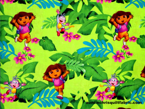 Cotton,Quilt,Fabric,Nickelodeon,One,Hip,Explorer,Dora,Jungle,,quilt backing, dresses, quilt fabric,cotton material,auntie chris quilt,sewing,crafts,quilting,online fabric,sale fabric