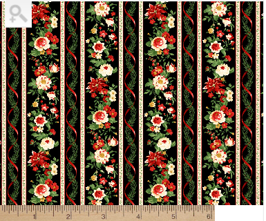 Cotton Quilt Fabric Christmas Crimson And Holly Border Stripe 1077-931 - product images  of