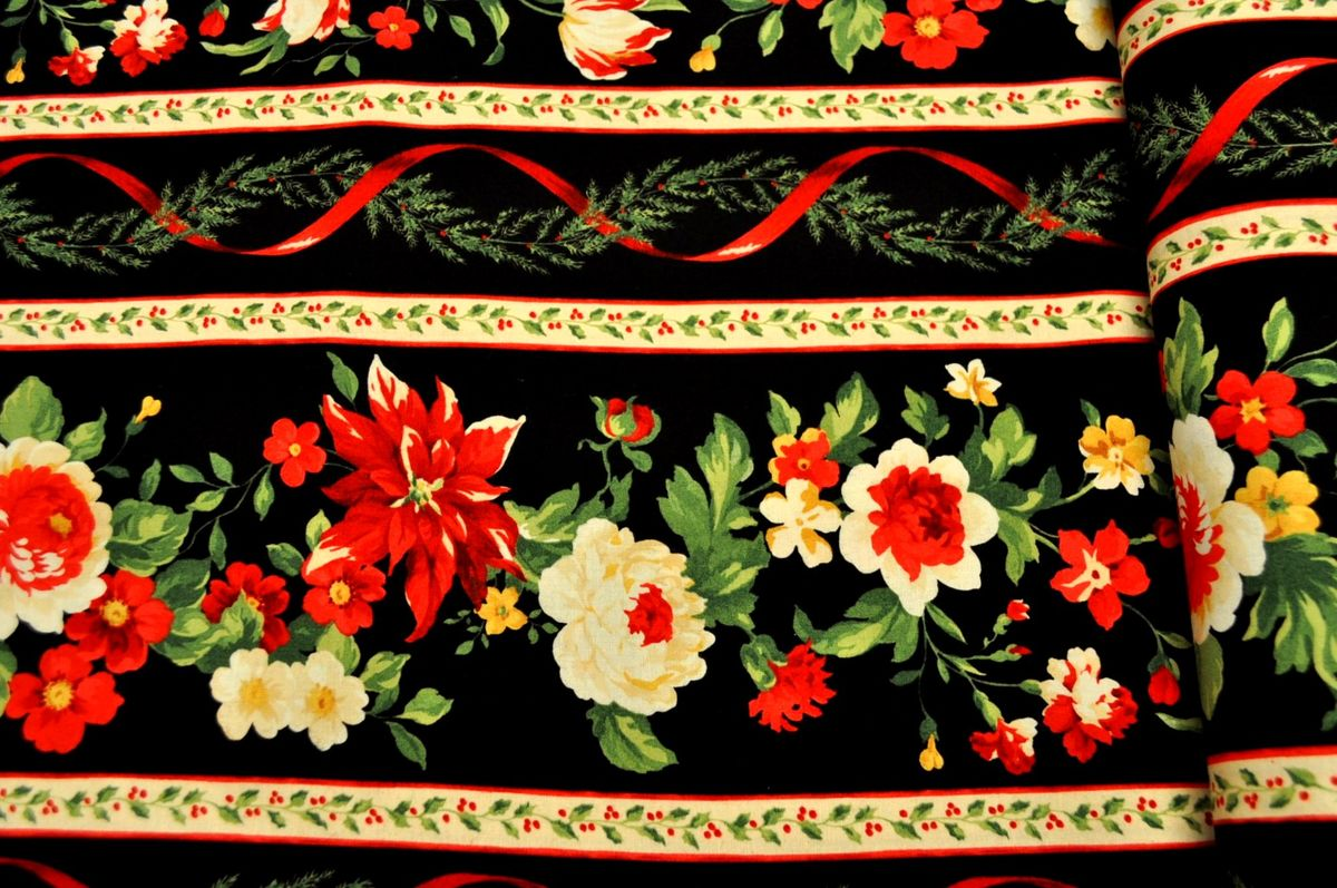 Good Buy Cotton Quilt Fabric Christmas Crimson And Holly
