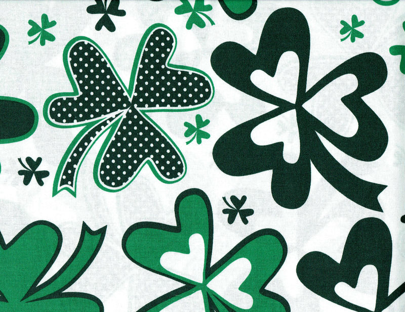 Cotton Quilt Fabric St Patrick's Day Patterned Shamrocks Wide - product image