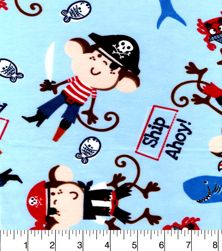 Cotton flannel quilt fabric snuggle ship ahoy pirate for Spaceship fleece fabric