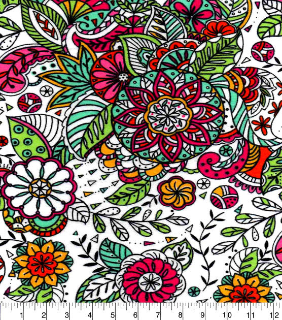 Cotton Flannel Quilt Fabric Snuggle Multi Color Sketched Floral - product images  of