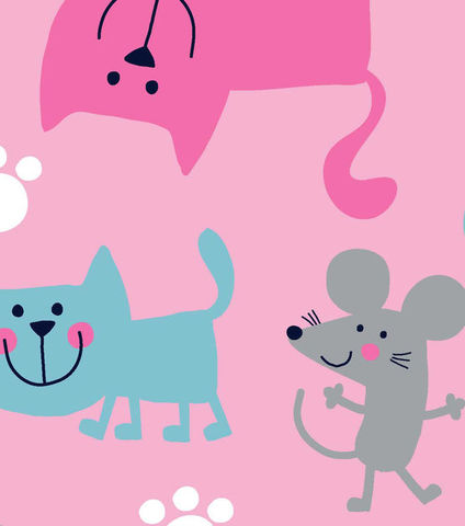 Cotton,Flannel,Quilt,Fabric,Snuggle,Pink,Cats,And,Mice,Kittens,Girls,,quilt backing, dresses, quilt fabric,cotton material,auntie chris quilt,sewing,crafts,quilting,online fabric,sale fabric