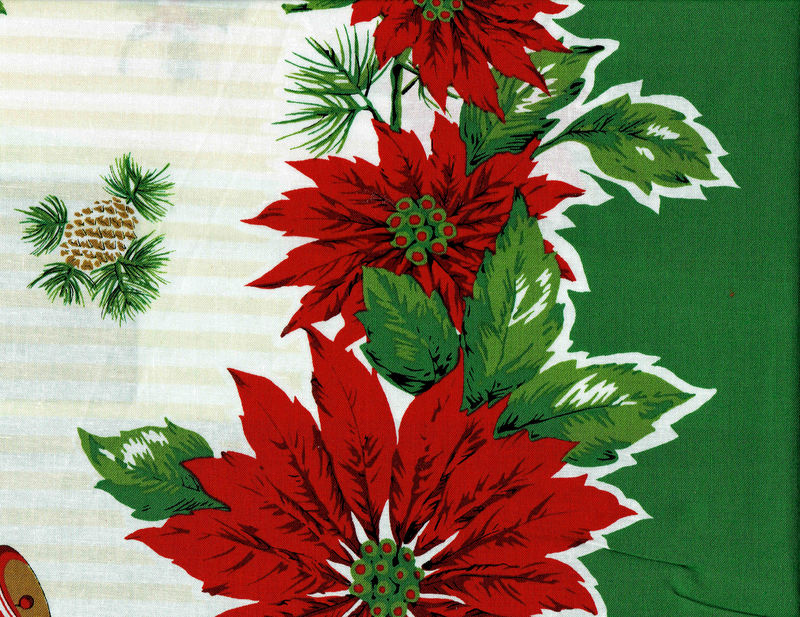 Cotton Quilt Fabric Panel Christmas Poinsettia Apron American Vintage - product images  of