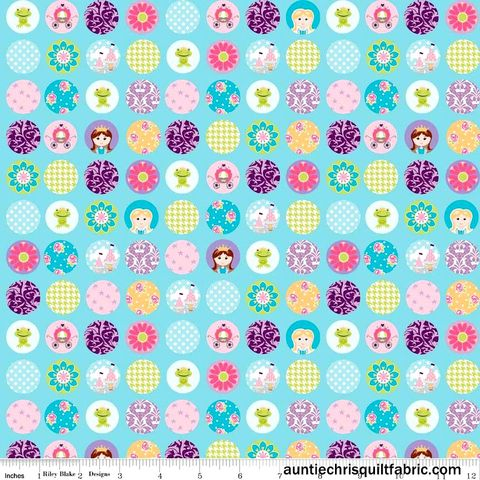 Cotton,Quilt,Fabric,Dream,And,A,Wish,Blue,Dots,Princesses,Floral,,quilt backing, dresses, quilt fabric,cotton material,auntie chris quilt,sewing,crafts,quilting,online fabric,sale fabric