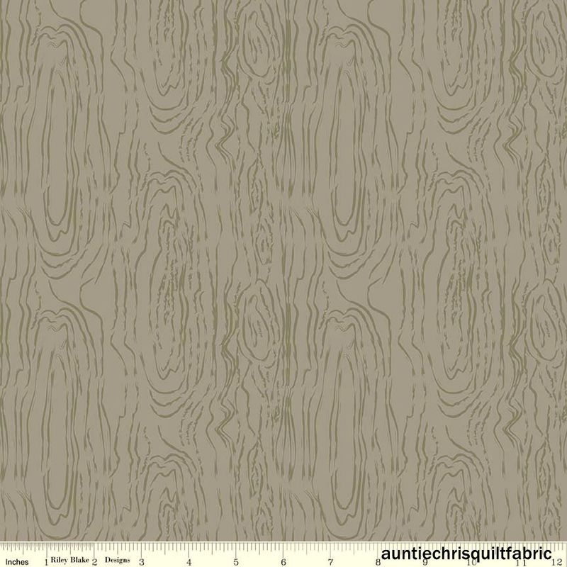 Cotton Quilt Fabric Organica Woodgrain Birch Riley Blake Gray - product image
