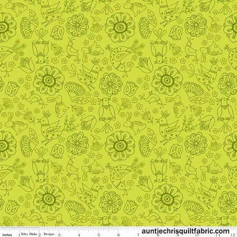 Cotton,Quilt,Fabric,Dutch,Treat,Green,Floral,Tone,On,Birds,,quilt backing, dresses, quilt fabric,cotton material,auntie chris quilt,sewing,crafts,quilting,online fabric,sale fabric