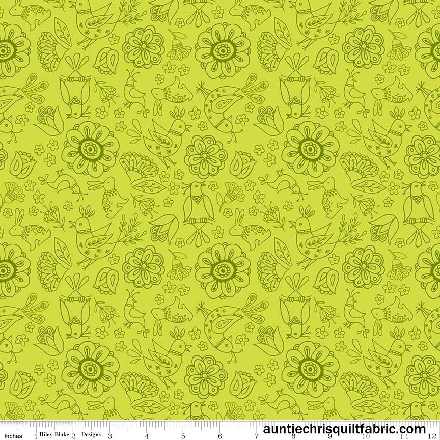 Cotton quilt fabric dutch treat green floral tone on tone for Cotton quilting fabric