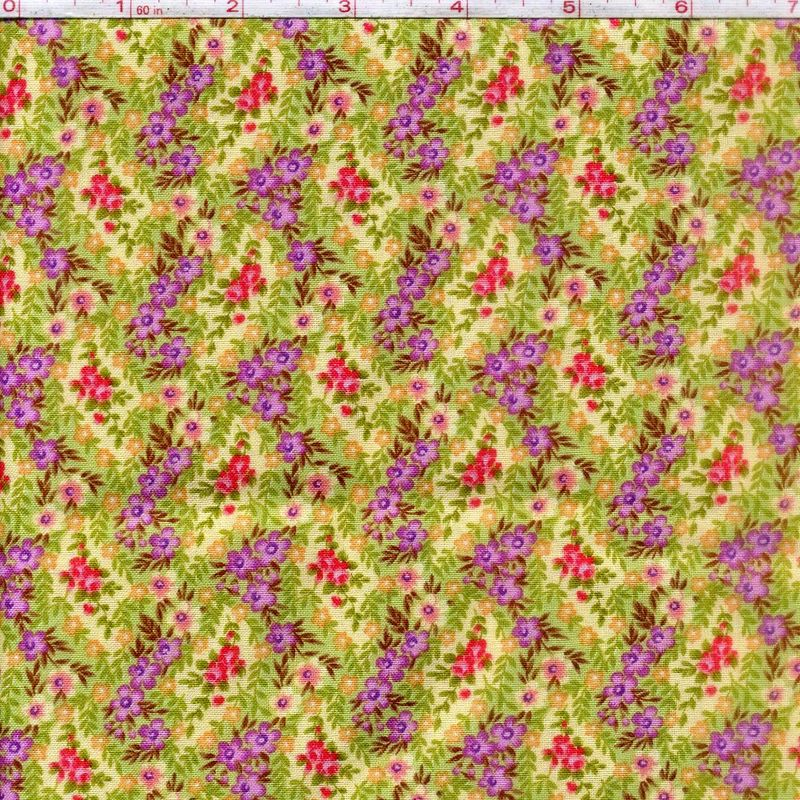 Cotton Quilt Fabric Katherine Ann 2441 Yellow Purple Floral Patrick Lose - product images  of