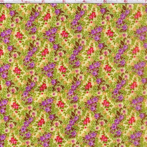 Cotton,Quilt,Fabric,Katherine,Ann,2441,Yellow,Purple,Floral,Patrick,Lose,,quilt backing, dresses, quilt fabric,cotton material,auntie chris quilt,sewing,crafts,quilting,online fabric,sale fabric