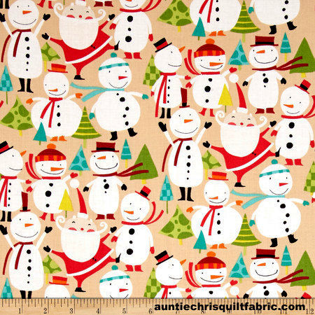 Cotton Quilt Fabric Merry Snowmen Winter Wonderland Snowmen Candy Cane - product images  of