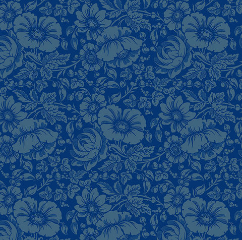 Cotton,Quilt,Fabric,Gilded,Flowers,Large,Floral,Blue,Tone,On,,quilt backing, dresses, quilt fabric,cotton material,auntie chris quilt,sewing,crafts,quilting,online fabric,sale fabric